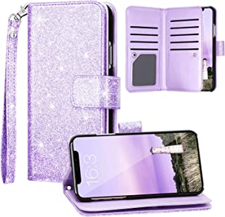 Fingic iPhone 11 Case, iPhone 11 Wallet Case, Glitter Sparkle Cover 9 Card Holder PU Leather with Kickstand Wrist Strap Protective Case for Women Apple iPhone 11 6.1 inch, Purple