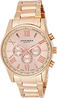 Akribos XXIV Men's Rose Gold Multifunction Dual Time Zone Watch - Bezel with Inner Tachymeter Scale - Sunburst Dial with Date/Day Subdial and Luminous Hands - Stainless Steel Bracelet - AK736