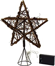 CVHOMEDECO. Rattan Natural Tree Top Star with Warm White LED Lights and Timer for Christmas Tree Decoration and Holiday Se...
