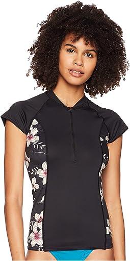 Cap Sleeve Sun Shirt Front Zip