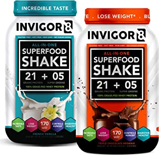 INVIGOR8 Superfood Shake (Choc and Vanilla Bundle) Gluten-Free Non GMO Meal Replacement Grass-Fed Whey Protein Shake with Probiotics and Omega 3 (1290g)
