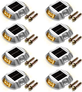 Solar Deck Lights 8-Pack JACKYLED Solar Dock Lights Bright Yellow Path Road Long Service Time LED Light Weatherproof Wireless Outdoor Warning Step Lights for Driveway Garden Walkway Backyard Step