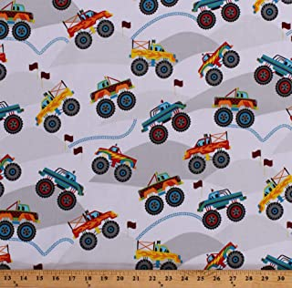 Cotton Monster Trucks Stunt Show Cars Vehicles on Gray Kids Transportation Cotton Fabric Print by The Yard (D750.01)