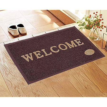 Kuber Industries PVC Printed Anti Skid Welcome Door Mat (Brown, CTLTC11169)