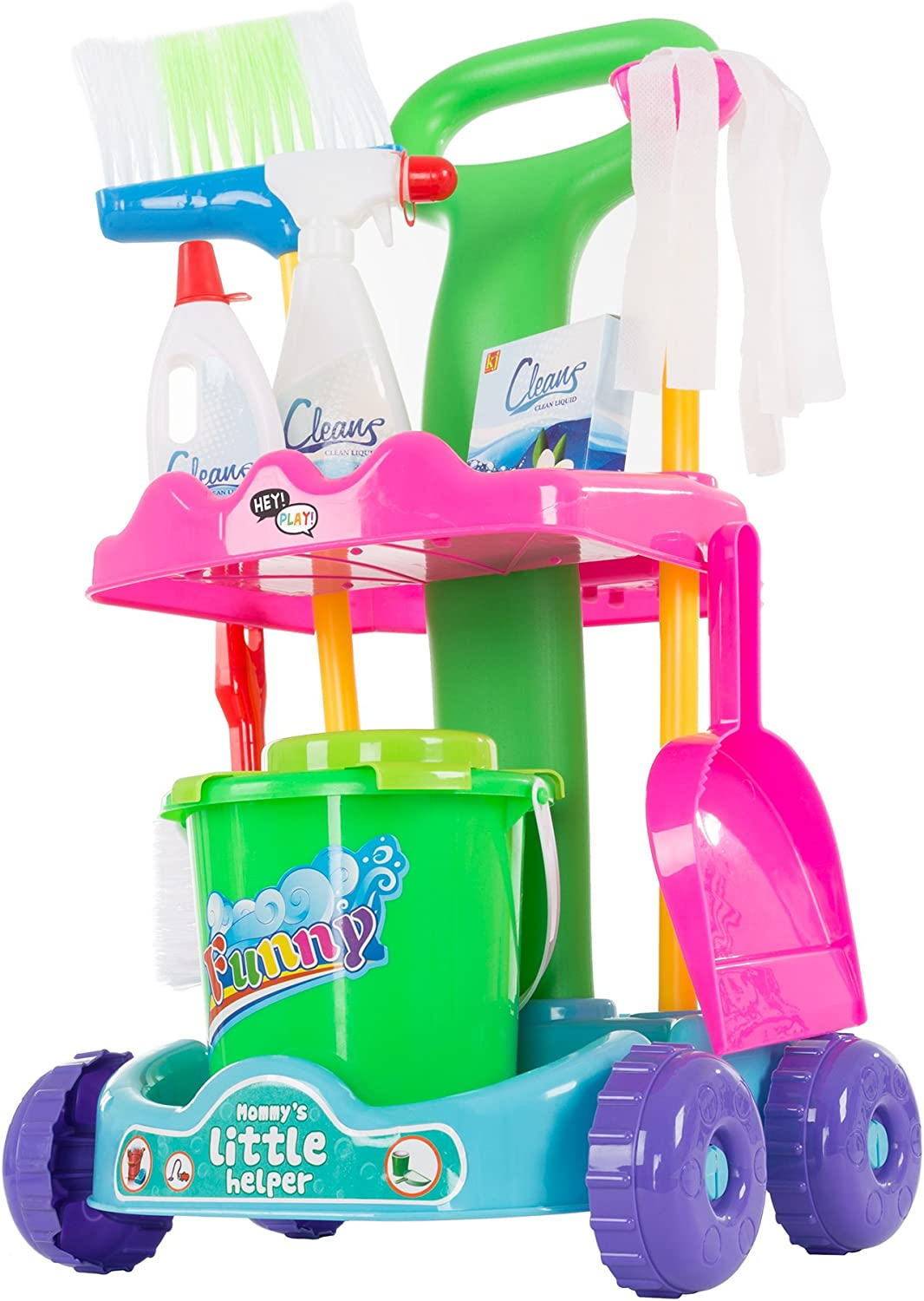 Hey  Play  80PP1350568 Pretend Play Cleaning Set with Caddy On Wheels by Playset