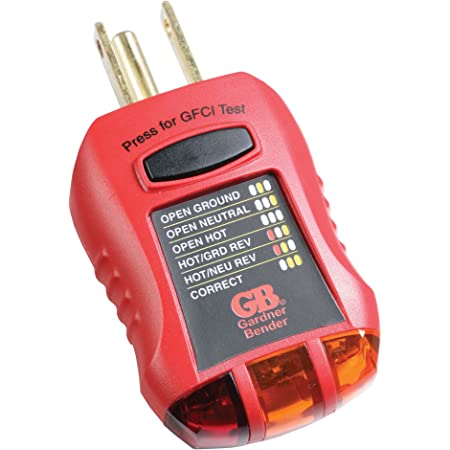 Gardner Bender GFI-3501 Ground Fault Receptacle Tester & Circuit Analyzer, 110-125V AC, for GFCI / Standard / Extension Cords & More, 7 Visual LED Tests , Red