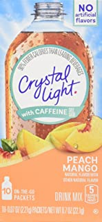 Crystal Light On The Go Peach Mango with Caffeine, 10-Packet Boxes (Pack of 4)