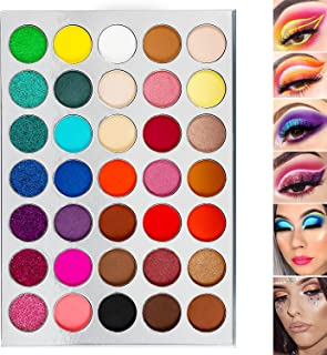 DE'LANCI Rainbow Eyeshadow Palette 35 Colors - 7 Glitter + 9 Shimmer + 19 Matte Smoky Ultra Bright Highly Pigmented Multi ...