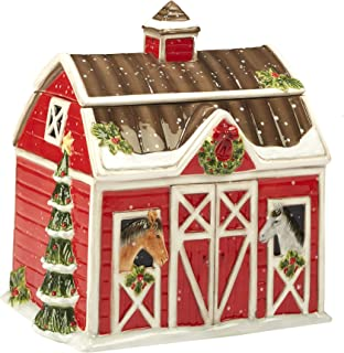 Certified International 22810 Christmas on the Farm 3-D Barn Cookie Jar 10