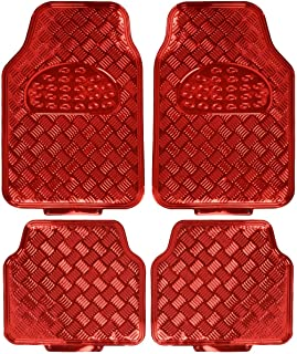 BDK Universal Fit 4-Piece Metallic Design Car Floor Mat - (Red) (MT-641-RD)