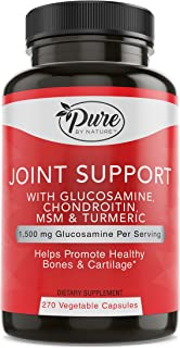 Pure By Nature Glucosamine with Chondroitin Turmeric MMS Boswellia Joint Pain Relief Supplement, 270 Count