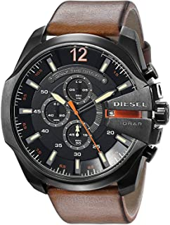 Diesel Brown Leather Black dial Watch for Men DZ4343