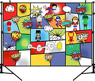 OUYIDA 7X5FT Super City Photo Booth Background Hero Children's Birthday Party and Decorations Scape Vinyl Photography Backdrop Photo Background Studio Prop PCK66A