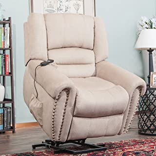 Merax Wilshire Series Heavy-Duty Power Lift Recliner Chair with Built-in Remote and 2 Castors (Beige)