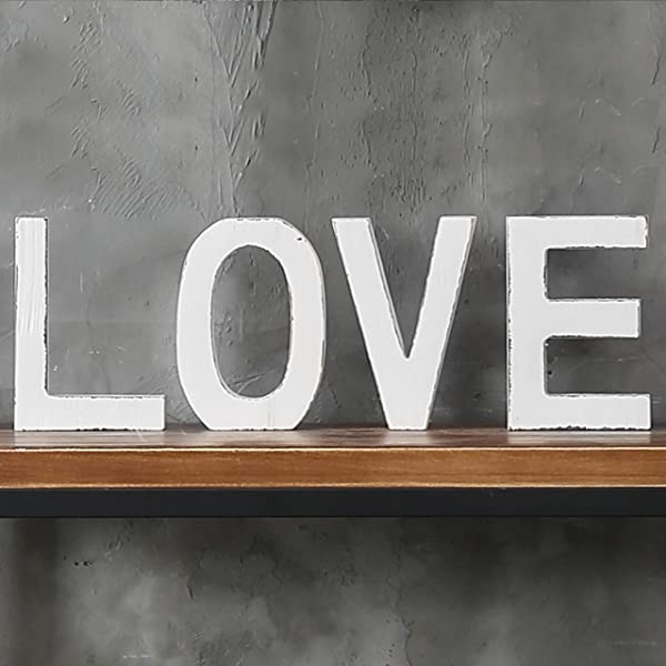 MyGift Vintage White Wood Block Love Cutout Letters Standing Decorative Sign