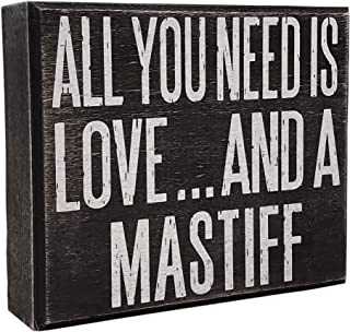 JennyGems - All You Need is Love and a Mastiff - Wooden Stand Up Box Sign with Hanger for Hanging. Rustic Art Decor for Th...