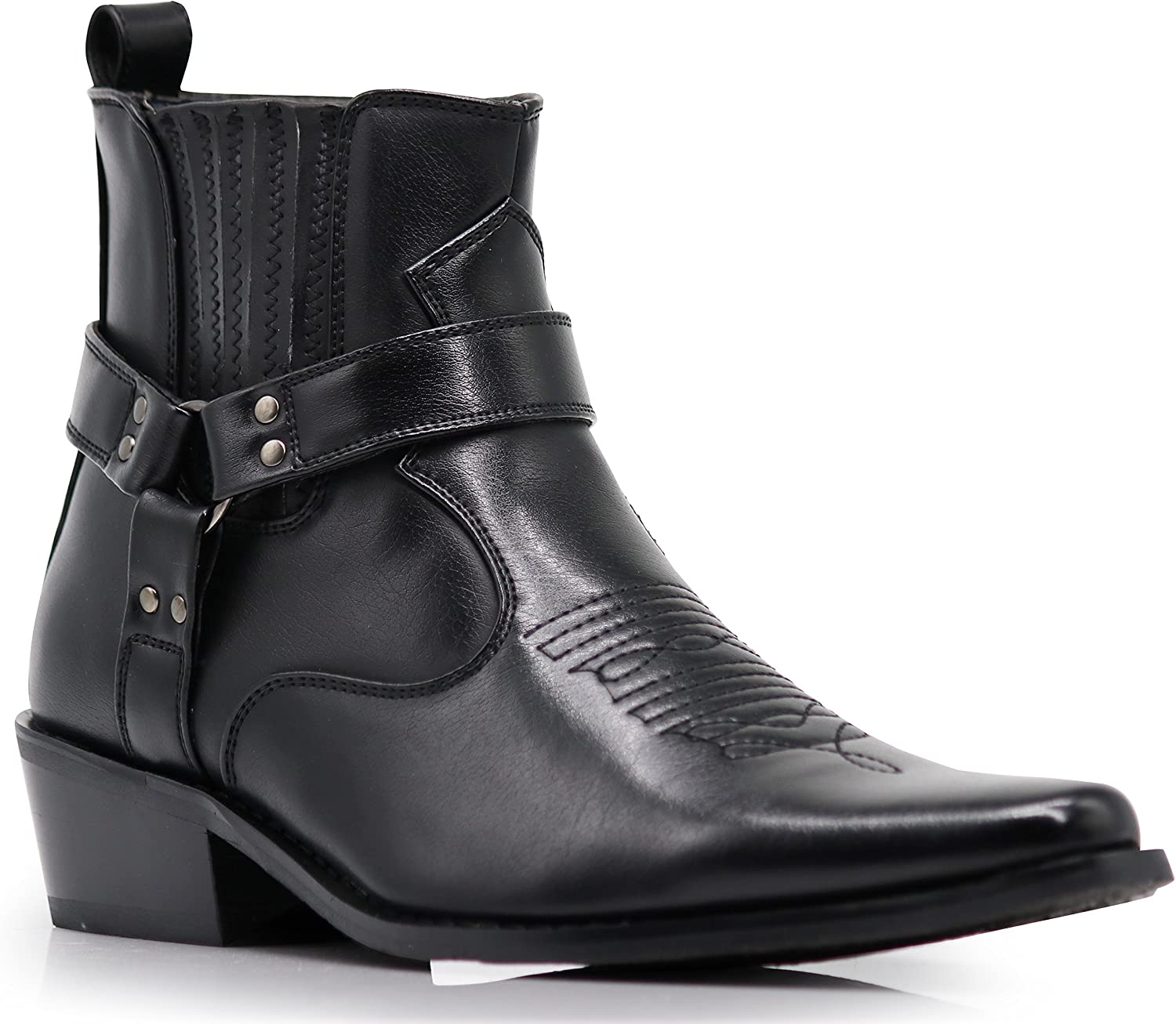 Enzo Romeo WSTN01 Men's Western Boots Side Zipper Pointy Strap Fashion Boots