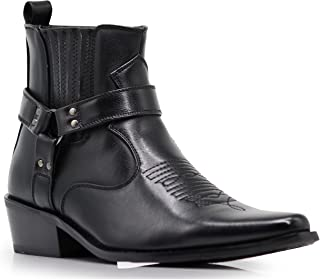 Alberto Fellini Mens Western Cowboy Boots (West01) Black