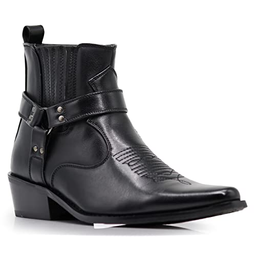 Dress Men/'s Leather Metal Pointed Toe Cuban Heel Ankle Boot  Zipper Shoes Size