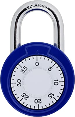 Brinks 162-49004 1-7/8-Inch 48mm Steel Dial Combination Old School Padlock with White Dial, 1-Pack, Assorted Colors
