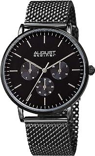 August Steiner AS8255 Designer Men's Watch – Fine Mesh Stainless Steel Bracelet Strap - Day, Date and 24 Hour Multifunctio...