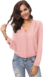 Womens V Neck Ruffled Shoulder Solid Chiffon Blouse