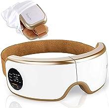 ماساژور چشم الکتریکی چشم - دستگاه ماسک بی سیم دیجیتال W / حرارت فشرده، باتری ساخته شده و نوار الاستیک قابل تنظیم - ماساژ ارتعاشی فشار هوا برای تسکین چشم - Serenelife SLEYMSG40