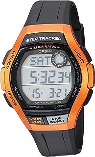 Men's Step Tracker Stainless Steel Quartz Sport Watch with Resin Strap, Black, 22 (Model: WS-2000H-4AVCF)
