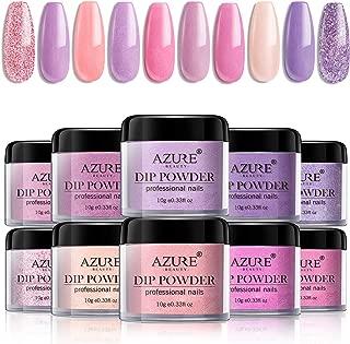Dip Powder Nails Color Set - Pink Purple 10 Colors Dip Powders Nails Set for French Nail Manicure Nail Art No UV/LED Nail Lamp Needed