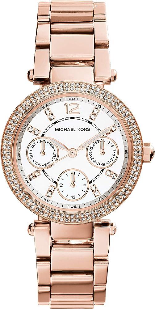 Michael kors orologio per donna, in acciaio tonalita` oro rosa,ghiera è impreziosita da due file di cristalli MK5616
