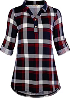 Cestyle Women's Collared Roll-Up 3/4 Sleeve Casual Loose Lightweight Knit Polo Plaid Shirt