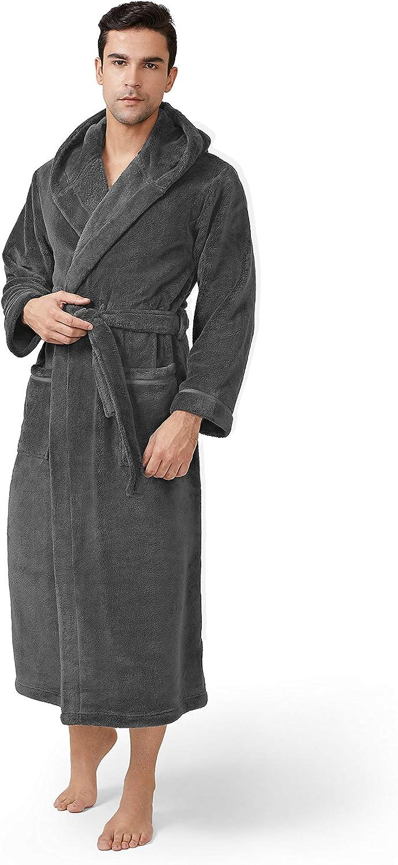 DAVID ARCHY Men's Hooded Robe Soft Coral Fleece Bathrobe