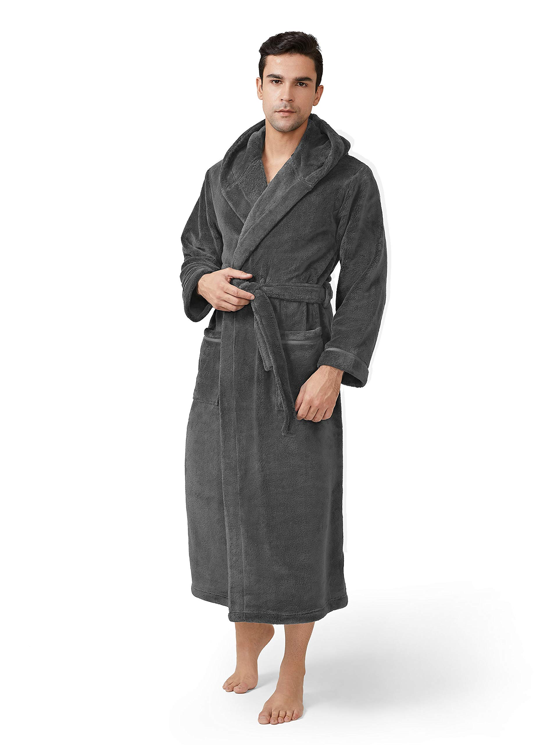 Image of A Customer Favorite: Gray Hooded Fleece Bath Robe for Men - See More Colors