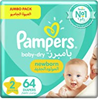 Pampers New Baby-Dry Diapers, Size 2, Mini, 3-8kg , Jumbo Pack, 64 Count