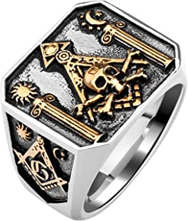 Skull Masonic Stainless Steel Ring Omniscient Eye and Freemason Totem Jewelry