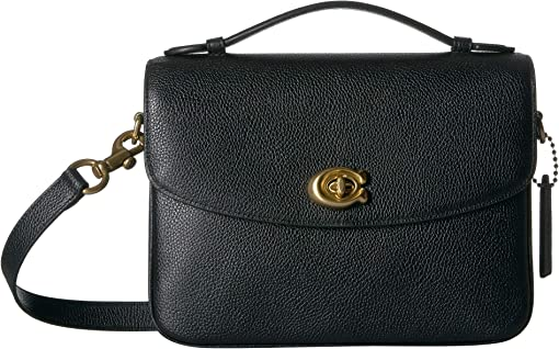 코치 페블 레더 캐시 크로스바디백 COACH Polished Pebbled Leather Cassie Crossbody,Black/Brass