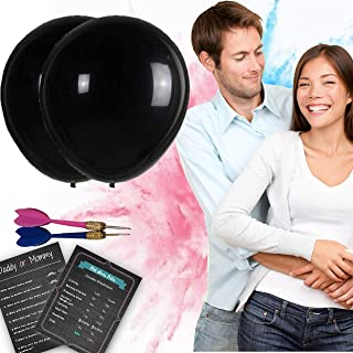 """Perfect Memories Baby Gender Reveal Balloon Set [2X] 36"""" Black Baby Reveal Balloons, Darts and Pink and Blue Powder Smoke Bombs – Baby Shower Gender Reveal Party Supplies, Games and Ideas"""