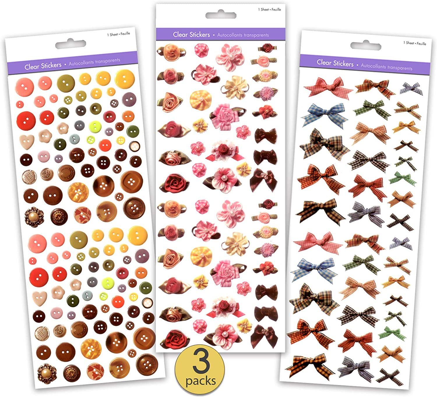 Set of 3 Jumbo Packs - Clear Scrapbook Stickers Featuring Real Photos of Ribbon pinks, Ribbon Bows, Plaid Ribbon Bows, and Buttons - Bulk Pack