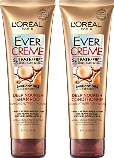 L'Oreal Paris Hair Care EverCreme Sulfate Free Shampoo & Conditioner Kit, Nourishes + Moisturizes, With Apricot Oil, For Dry Hair,Combo (8.5 Fl Oz each)
