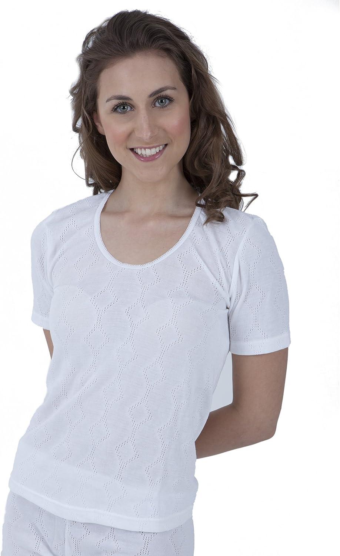 Universal Textiles Ladies Thermal Wear Short Sleeve T Shirt Polyviscose Range (British Made) (12-14) (White)