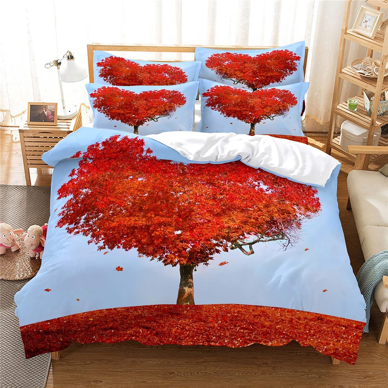 Quilt Cover Home Furnishing Great interest Award Bedding Reddish Leaves Digit Brown