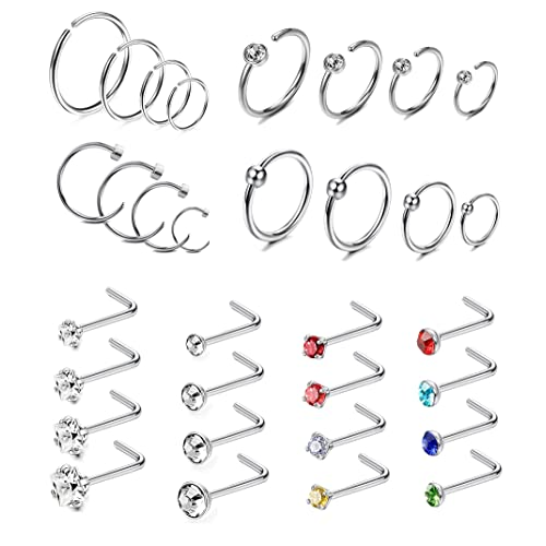 Thunaraz 72pcs 20 22g Stainless Steel Nose Stud Rings Nose Hoop Rings Piercing Pin Body Jewelry