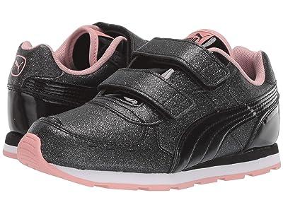 Puma Kids Vista Glitz Velcro (Little Kid) (PUMA Black/Bridal Rose/PUMA White) Girls Shoes