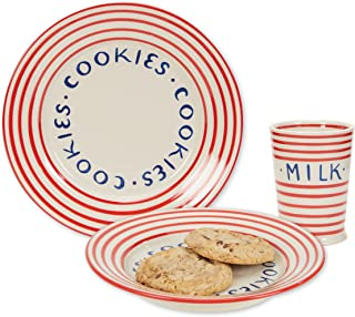 C.R. Gibson Red Striped Stoneware Milk Glass and Cookie Plate for Santa, 10 fl. Oz. Cup and 9'' D Dish