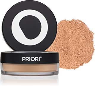 Priori All-Natural Mineral Powder Foundation SPF 25 - Antioxidant Enriched, Broad Spectrum Sunscreen, Flawless Coverage Mineral Makeup - Shade 4 Warm Beige