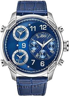 JBW Luxury Men's G4 0.16 ctw Diamond Wrist Watch with Leather Bracelet