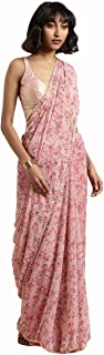 Womanista georgette with blouse piece Saree (TKIM740_ Pink_ Free Size)