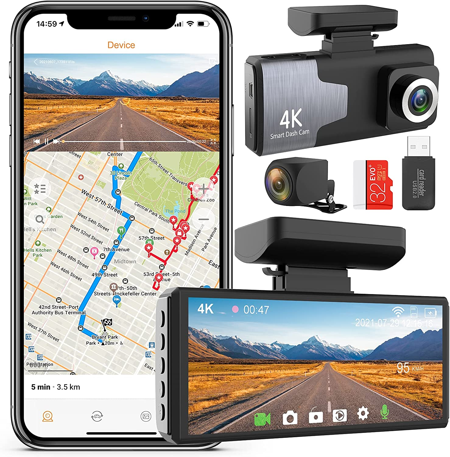 """COTTNY Dash Cam Front and Rear Wireless 4K Car Camera, 4"""" Screen Dual Dash Cam with WiFi, External GPS, Motion Detection, Night Vision, Car Camera Recorder with 32GB SD Card Included"""