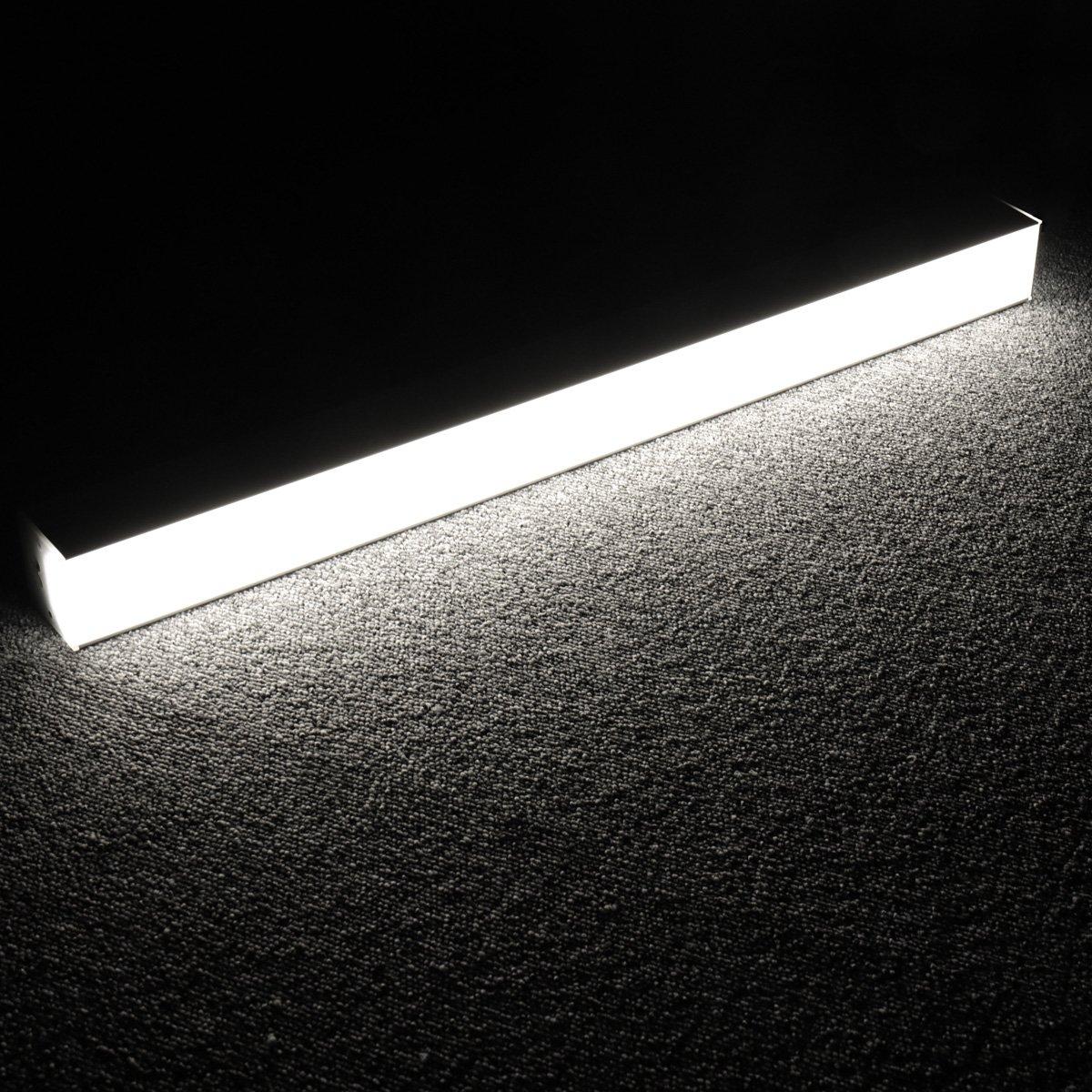 Lagute LEDGo DIYリニアモジュールLEDライトと電源コード、1.8 mオフィス、ガレージ、ワークショップ、サスペンション用の自由に組み立て可能なDIY照明壁掛けデイライト5000K-クールホワイト2FT 20W