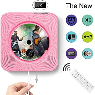 CD Player Wall Mountable Bluetooth Home Audio Remote Control Built in HiFi Speakers USB MP3 3.5mm Headphone Jack AUX Input/Output (Pink) …